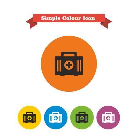 erste hilfe koffer: Reihe von Icons mit Erste-Hilfe-Kit, mit Text auf rotem Band Illustration
