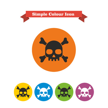 six objects: Set of icons with skull and crossbones, with text on red ribbon Illustration