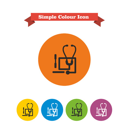 six objects: Set of icons with stethoscope and tongue depressors, with text on red ribbon Illustration