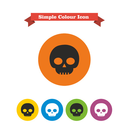 poison symbol: Set of icons with skull, with text on red ribbon