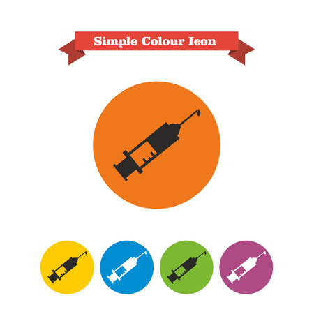 Set of icons with syringe with vaccine drop, with text on red ribbon Vector