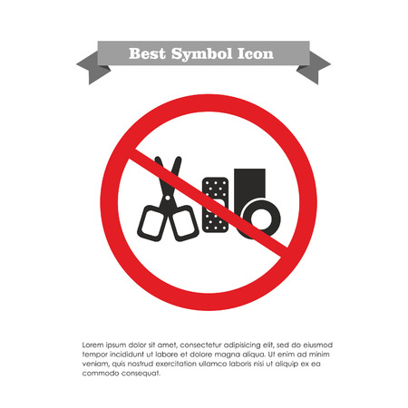 Icon of bandaging materials and scissors in prohibition sign, with text on grey ribbon and sample text