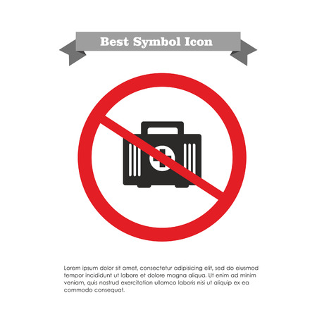 erste hilfe koffer: Icon der Erste-Hilfe-Kit in Verbotszeichen mit Text auf grauem Band und Beispieltext Illustration