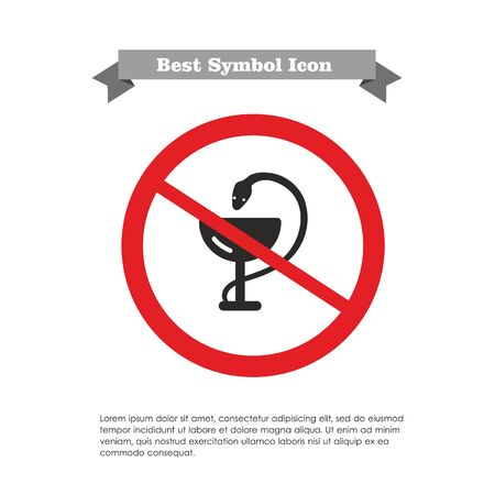 two objects: Icon of medical snake and cup in prohibition sign, with text on grey ribbon and sample text Illustration