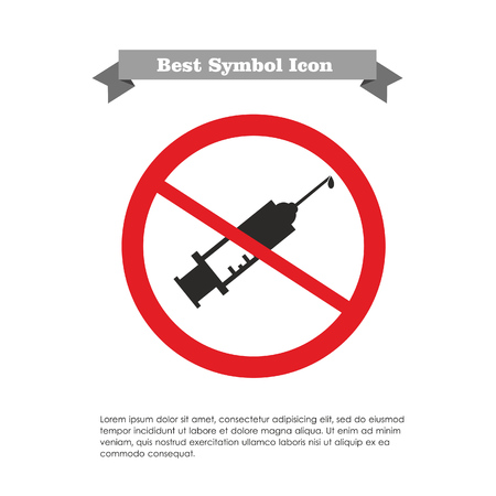 Icon of syringe with vaccine drop in prohibition sign, with text on grey ribbon and sample text Vector