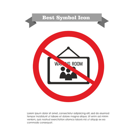 Icon of waiting room sign in prohibition sign, with text on grey ribbon and sample text Vector Illustration