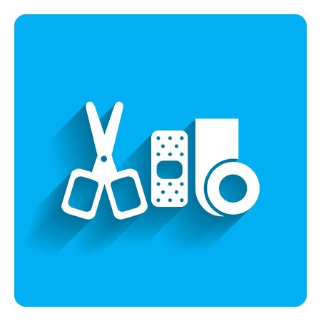 three objects: Icon of bandaging materials and scissors on bright blue background