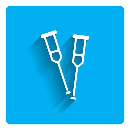 crutches: Icon of crutches on bright blue background