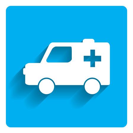 Icon of ambulance car on bright blue background