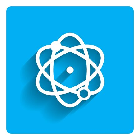 Icon of atom model on bright blue background
