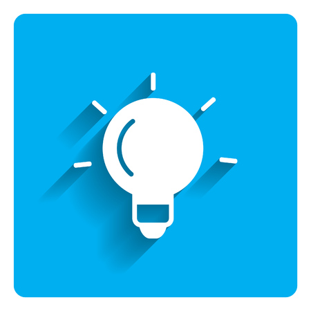 blue bulb: Icon of glowing bulb on bright blue background Illustration
