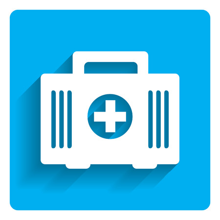 first aid kit: Icon of first aid kit on bright blue background