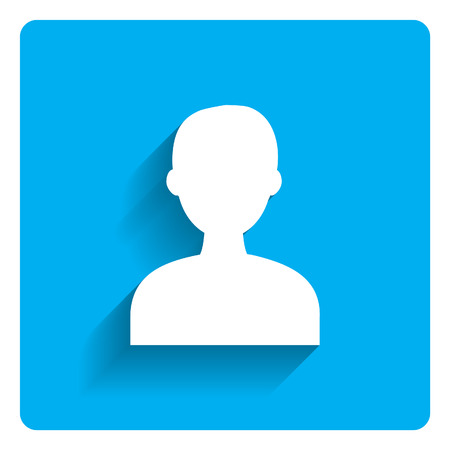 Icon of mans head silhouette on bright blue background Illustration