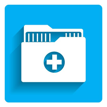 history icon: Icon of medical history folder on bright blue background
