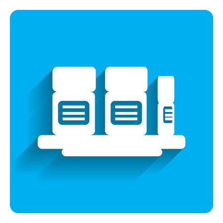three objects: Icon of pill bottles on shelf on bright blue background