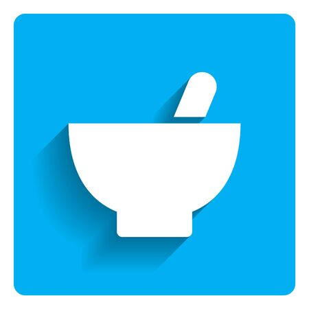 two objects: Icon of mortar and pestle on bright blue background
