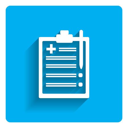 Icono de informe médico en el portapapeles en el fondo azul brillante
