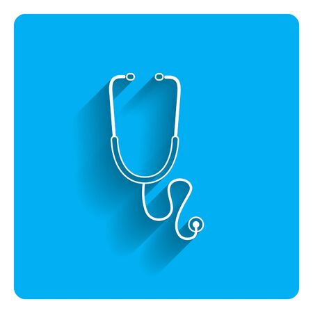 listening to heartbeat: Icon of stethoscope on bright blue background