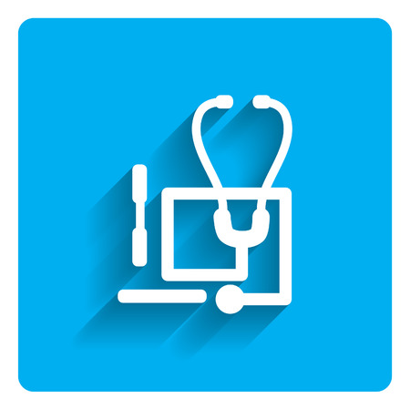 three objects: Icon of stethoscope and tongue depressors on bright blue background