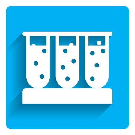three objects: Icon of test tubes filled with bubbling liquid on bright blue background Illustration