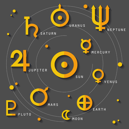 Zodiac And Astrology Symbols Of Sun Moon Solar System Planets