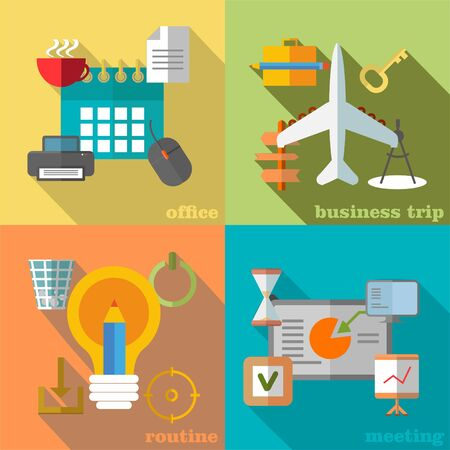 day planner: Set of images depicting parts of business life on various backgrounds Illustration