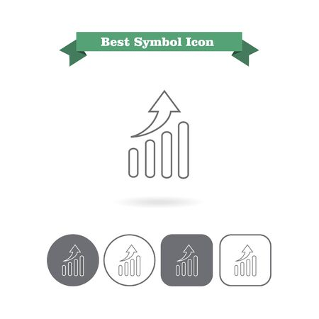 six objects: Set of vector icons with growing graph chart, with text on green ribbon Illustration