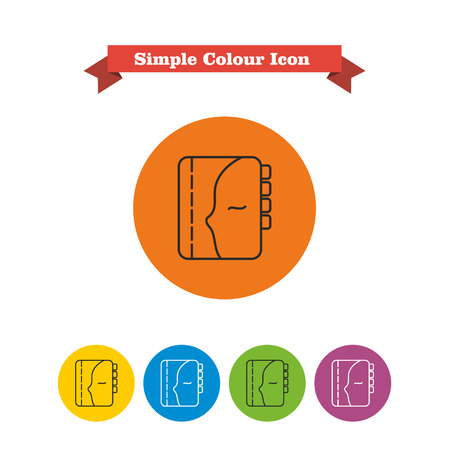 reminding: Set of vector icons with personal organizer, with text on red ribbon Illustration