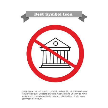 Vector icon with classical bank building in prohibition sign, with text on grey ribbon and sample text