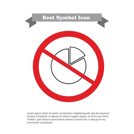 Vector icon with circular diagram and its section in prohibition sign, with text on grey ribbon and sample text Vector