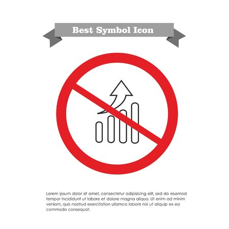 Vector icon with growing graph chart in prohibition sign, with text on grey ribbon and sample text Vector