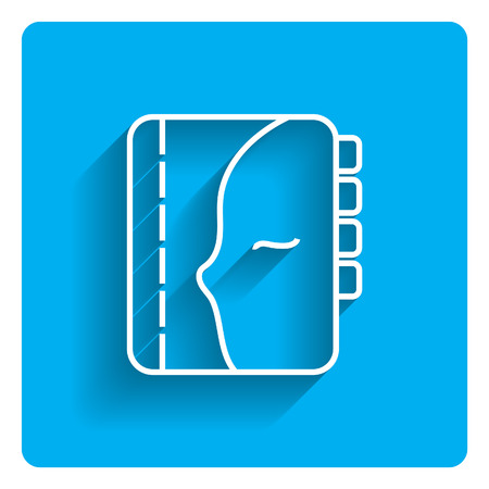 spiral binding: Vector icon of personal organizer on bright blue background