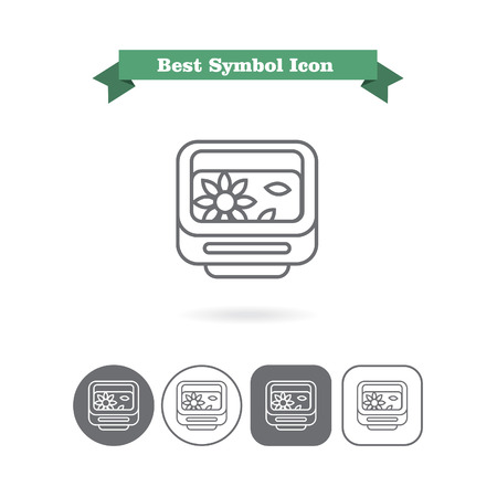six objects: Set of vector icons with garden washbowl with floating flower and petals, with text on green ribbon