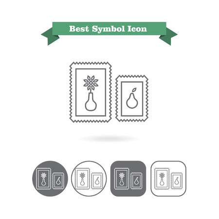six objects: Set of vector icons with two paintings in frame, with text on green ribbon