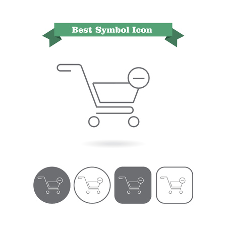 six objects: Set of vector icons with shopping cart depicting remove from cart icon, with text on green ribbon