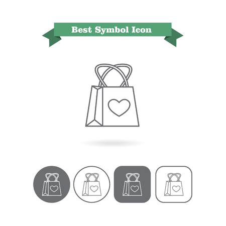 six objects: Set of vector icons with shopping bag with heart picture, with text on green ribbon