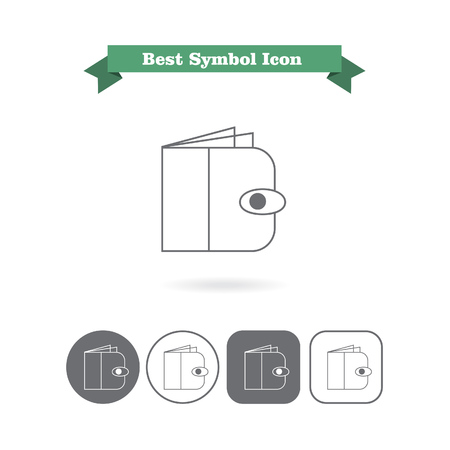 six objects: Set of vector icons with wallet, with text on green ribbon