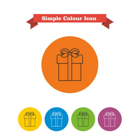 six objects: Set of vector icons with gift box with ribbon and bow, with text on red ribbon