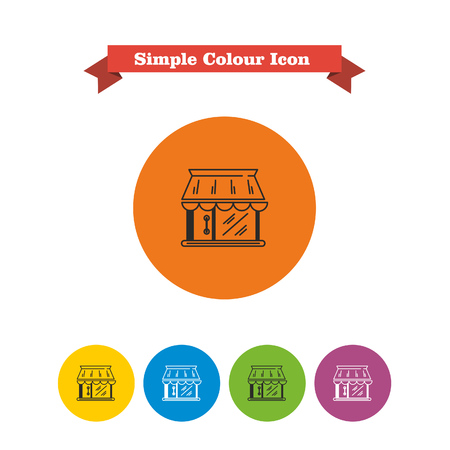 six objects: Set of vector icons with shop building, with text on red ribbon