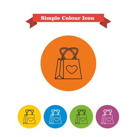 six objects: Set of vector icons with shopping bag with heart picture, with text on red ribbon