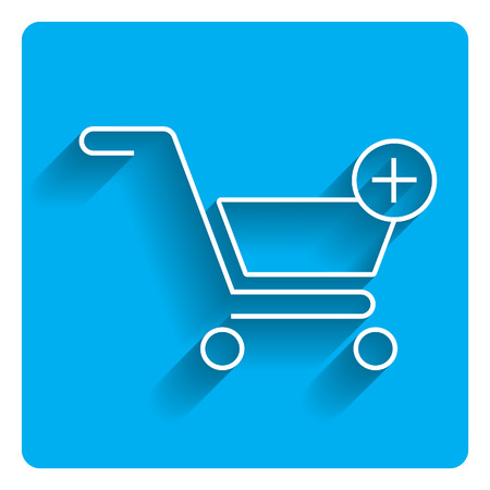 adding: Vector icon of shopping cart depicting add to cart icon on bright blue background