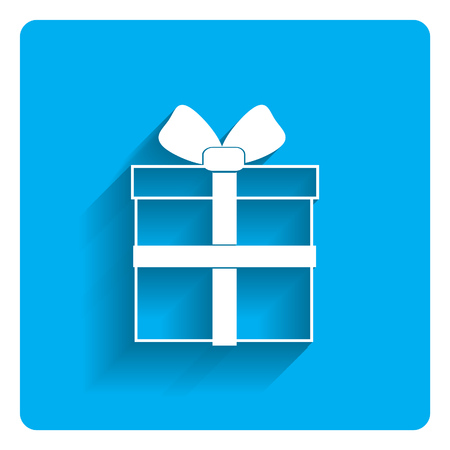 festive occasions: Vector icon of gift box with ribbon and bow on bright blue background