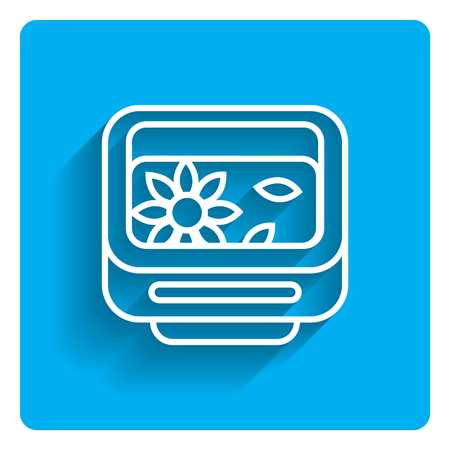 washbowl: Vector icon of garden washbowl with floating flower on bright blue background Illustration