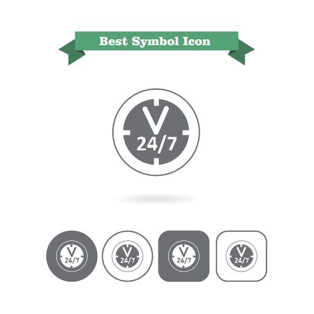 opening hours: Set of vector icons with opening hours sign, with text on green ribbon
