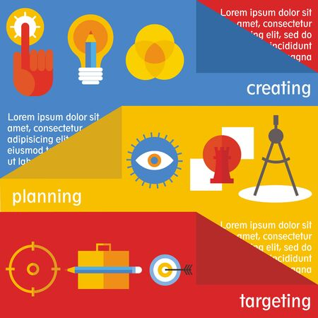 targeting: Set of flat design concepts of idea creation, project planning and targeting on colored background