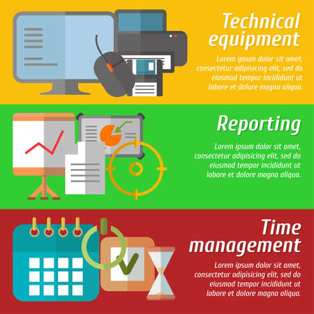 Set of flat design concepts of technical equipment, reporting, time management on colored background