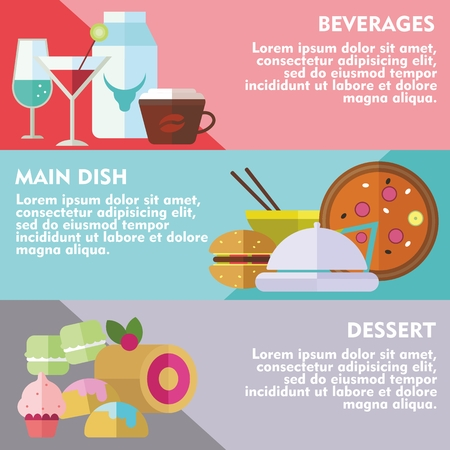 sweet course: Set of flat design concepts of main course, dessert and beverages on colored background Illustration