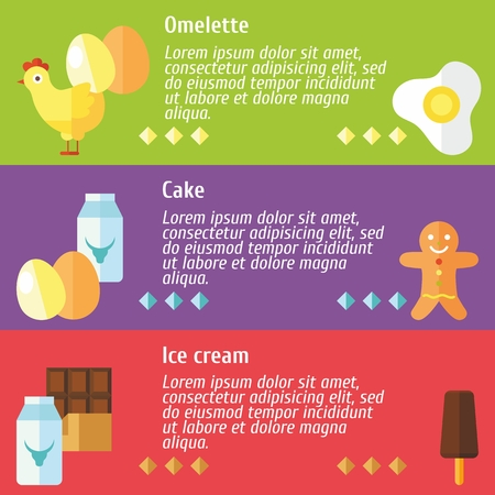 omelet: Set of flat design concepts of omelet, cake, ice cream ingredients on colored background