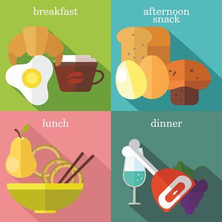 mindennapi: Állítsa lapos tervezési koncepciók, a mindennapi étkezések, beleértve a reggelit, délutáni snack, ebéd, vacsora, színes háttérrel