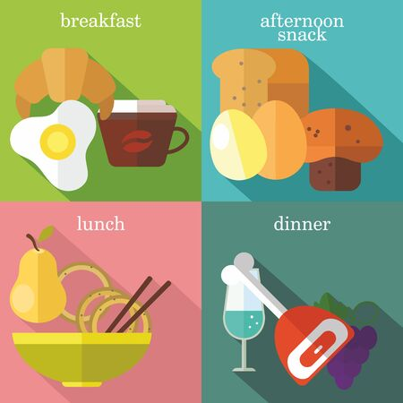 Set of flat design concepts of everyday meals, including breakfast, afternoon snack, lunch, dinner on colored background Illustration